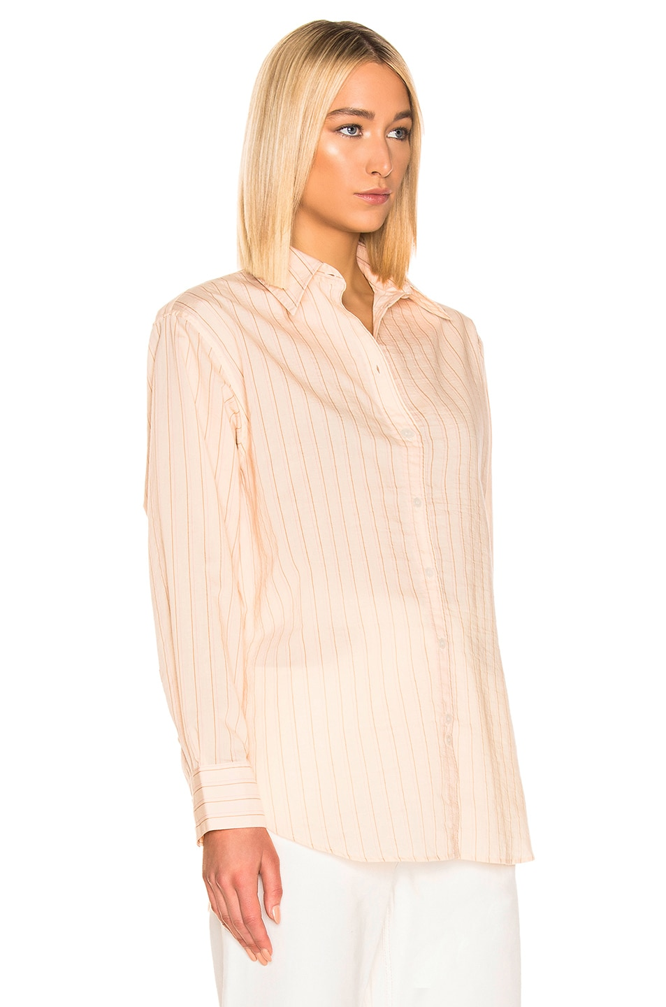 Image 2 of Acne Studios Selma Shirt in Beige & Pink