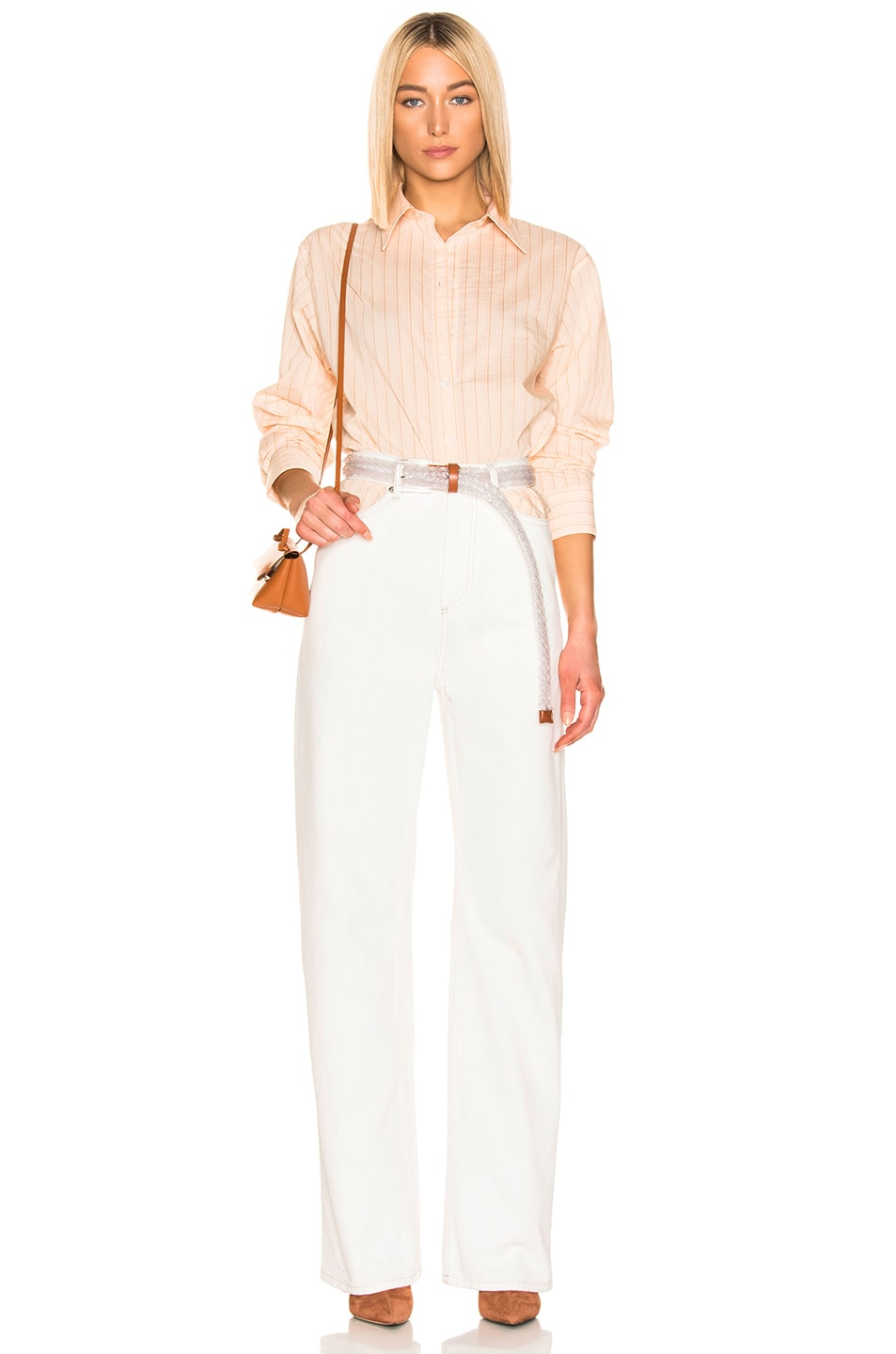 Image 4 of Acne Studios Selma Shirt in Beige & Pink