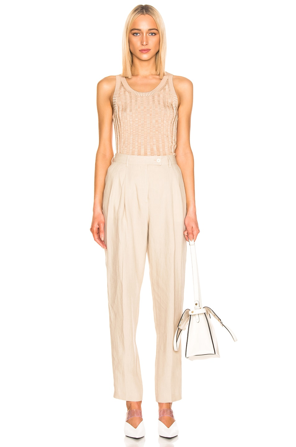 Image 4 of Acne Studios Katrina Tank Top in Beige & Sand