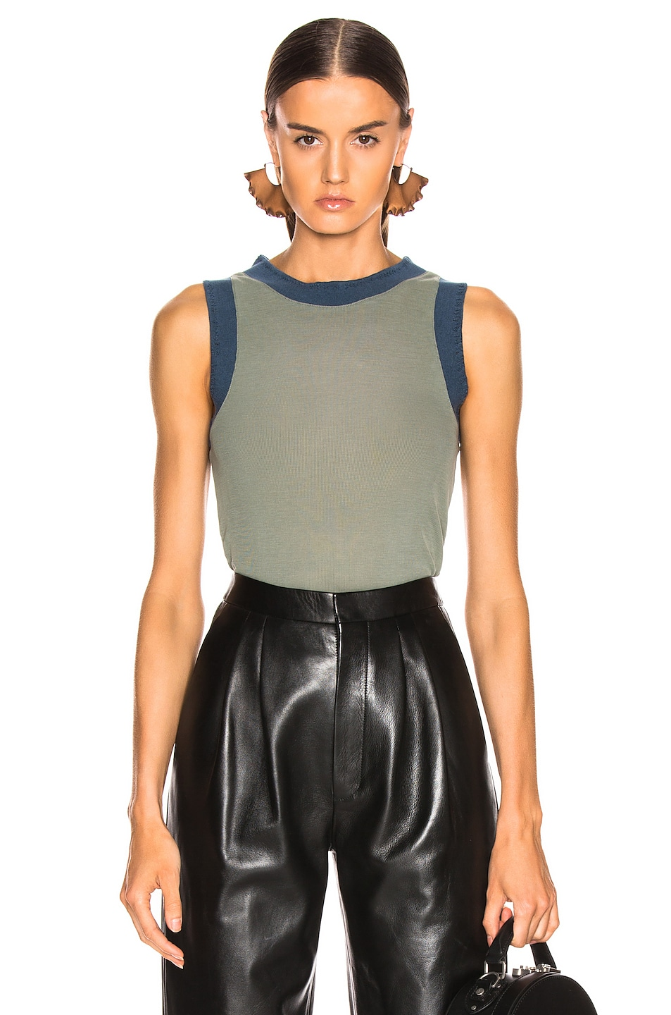 Image 1 of Acne Studios Erica Tank Top in Dusty Green