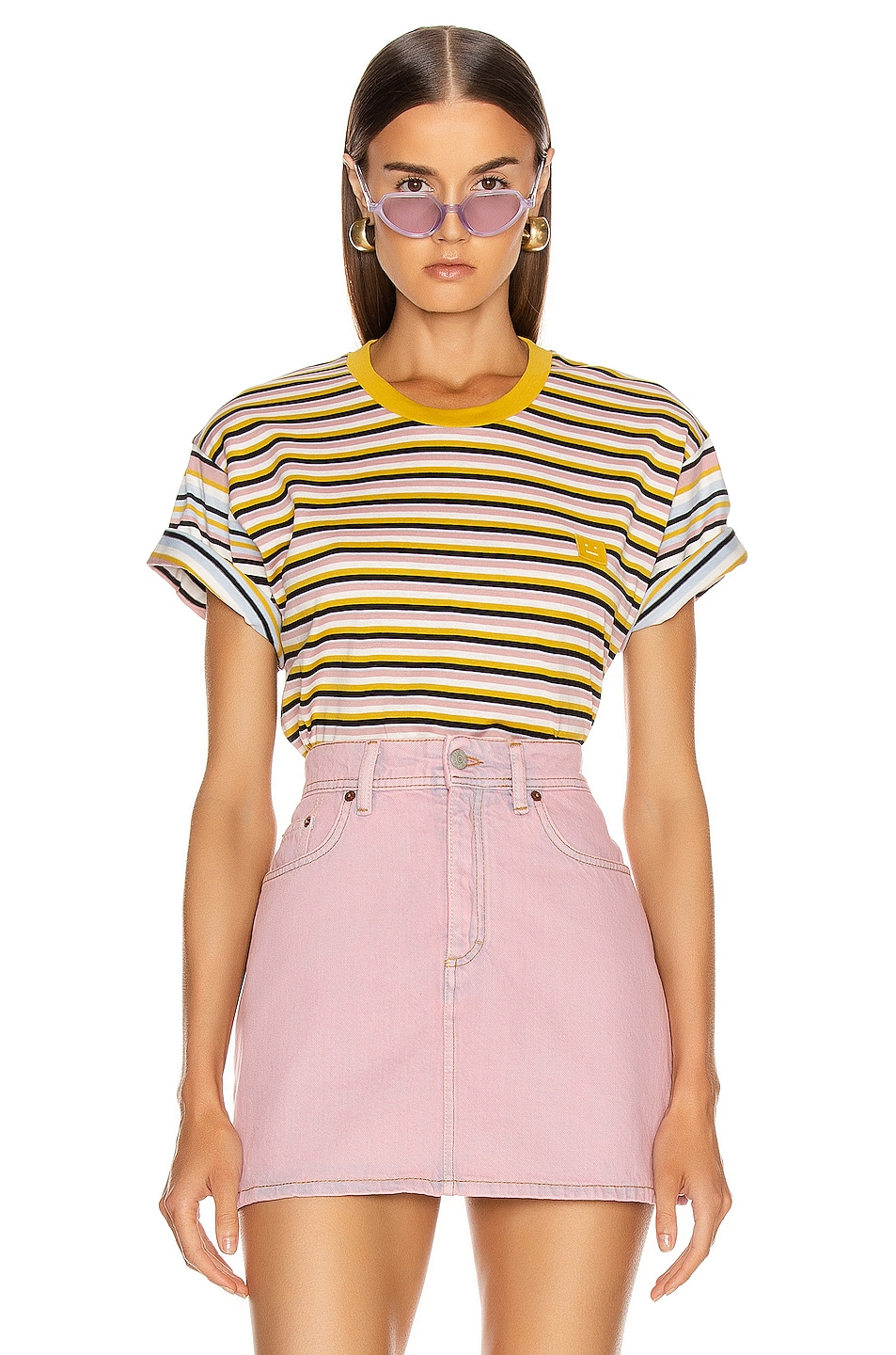Image 1 of Acne Studios Elvin Face T Shirt in Dusty Pink