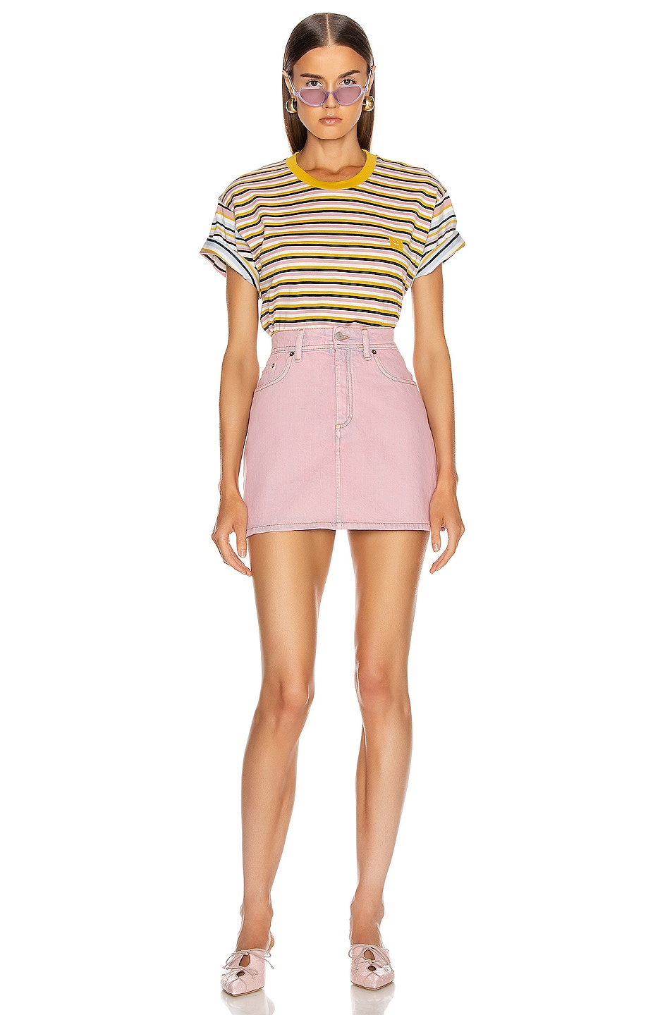 Image 4 of Acne Studios Elvin Face T Shirt in Dusty Pink
