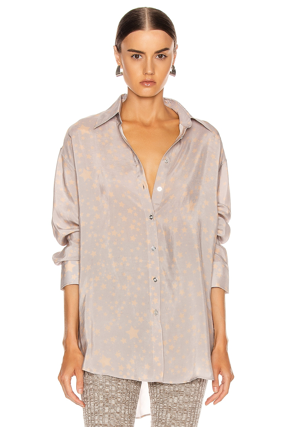 Image 1 of Acne Studios Stella Print Shirt in Lilac Purple