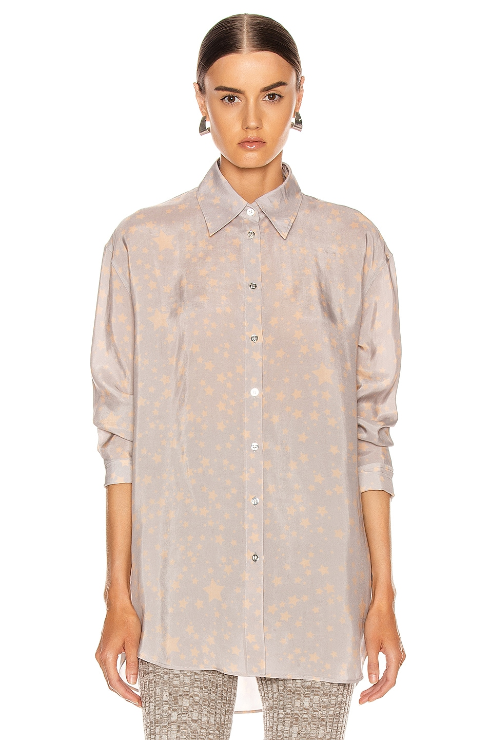 Image 2 of Acne Studios Stella Print Shirt in Lilac Purple