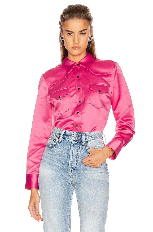 Image 1 of Acne Studios Bla Konst 2002 Satin Shirt in Bright Pink