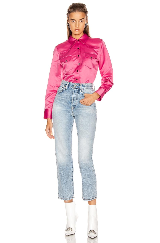 Image 4 of Acne Studios Bla Konst 2002 Satin Shirt in Bright Pink