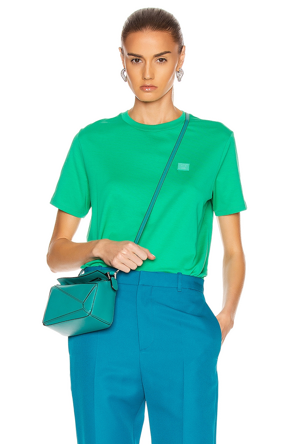 Image 1 of Acne Studios Face Tee in Emerald Green