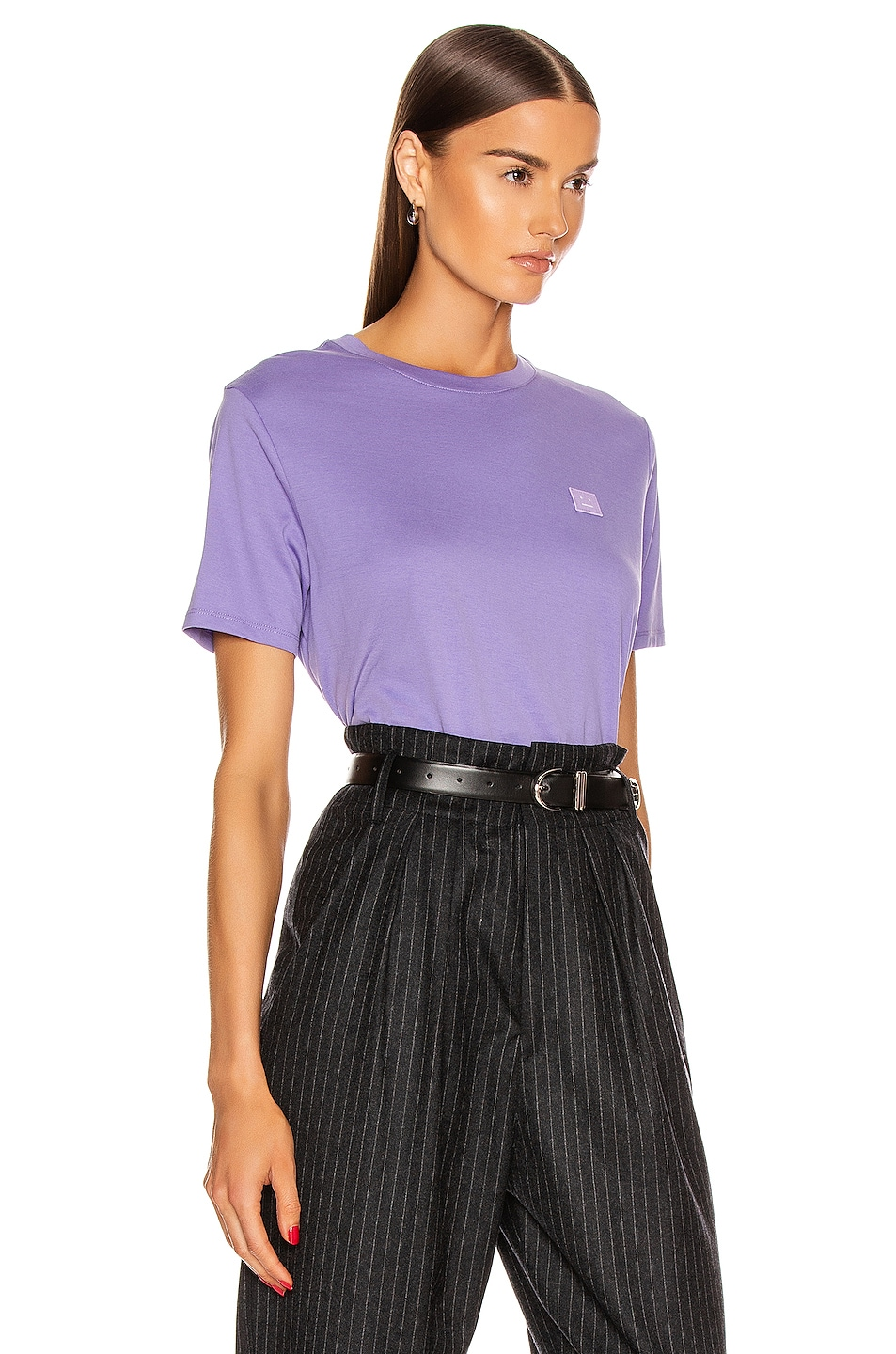 Image 2 of Acne Studios Face Tee in Lavender Purple