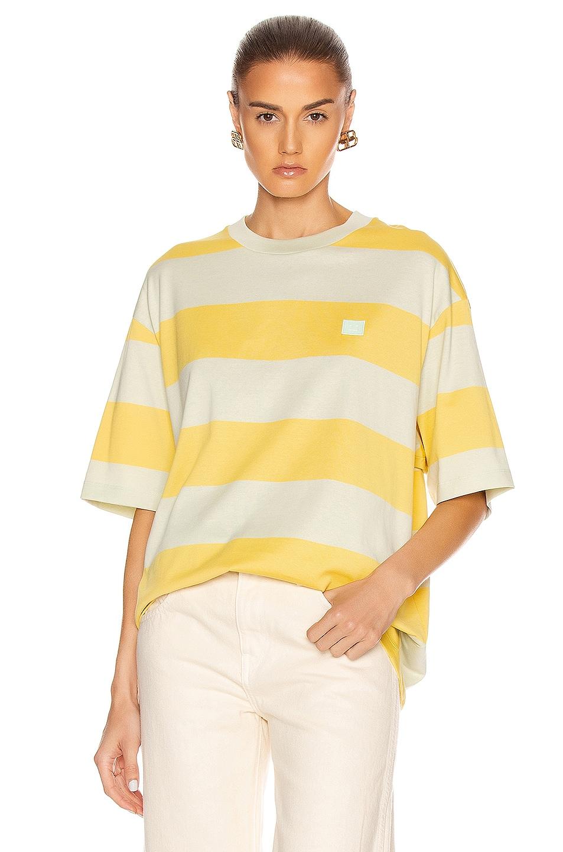 Image 1 of Acne Studios Erian Stripe Face Tee in Lemon Yellow