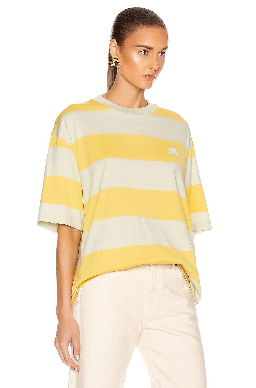 Image 2 of Acne Studios Erian Stripe Face Tee in Lemon Yellow