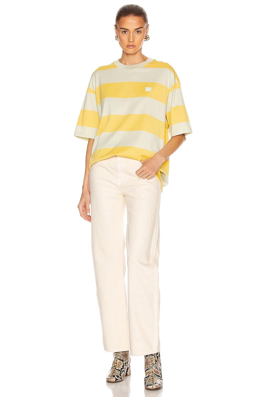 Image 4 of Acne Studios Erian Stripe Face Tee in Lemon Yellow