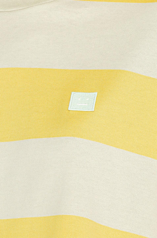 Image 5 of Acne Studios Erian Stripe Face Tee in Lemon Yellow