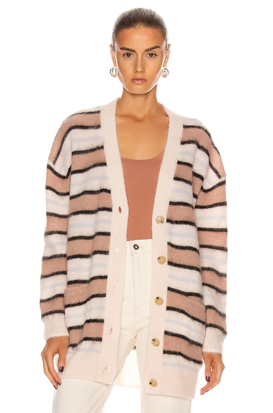 Image 1 of Acne Studios Alpaca Striped Cardigan in Old Pink & Multi