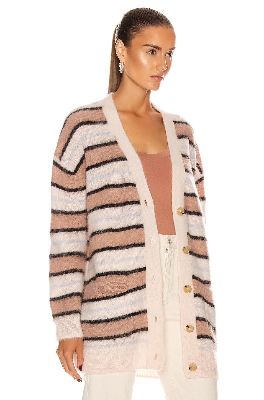 Image 3 of Acne Studios Alpaca Striped Cardigan in Old Pink & Multi