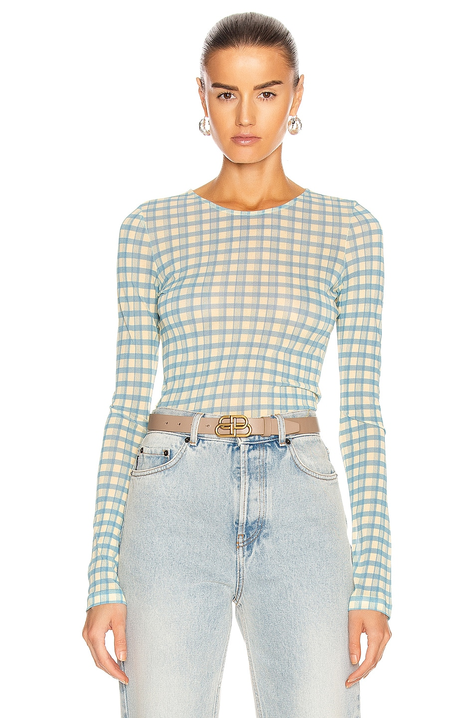 Image 1 of Acne Studios Plaid Long Sleeve T-Shirt in Blue