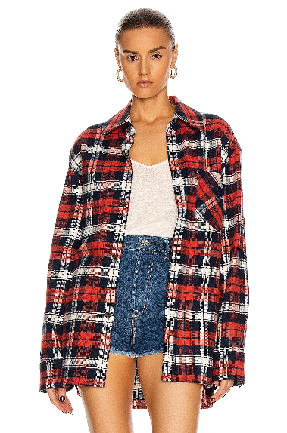 Image 1 of Acne Studios Salak Flannel Face Shirt in Red & Navy