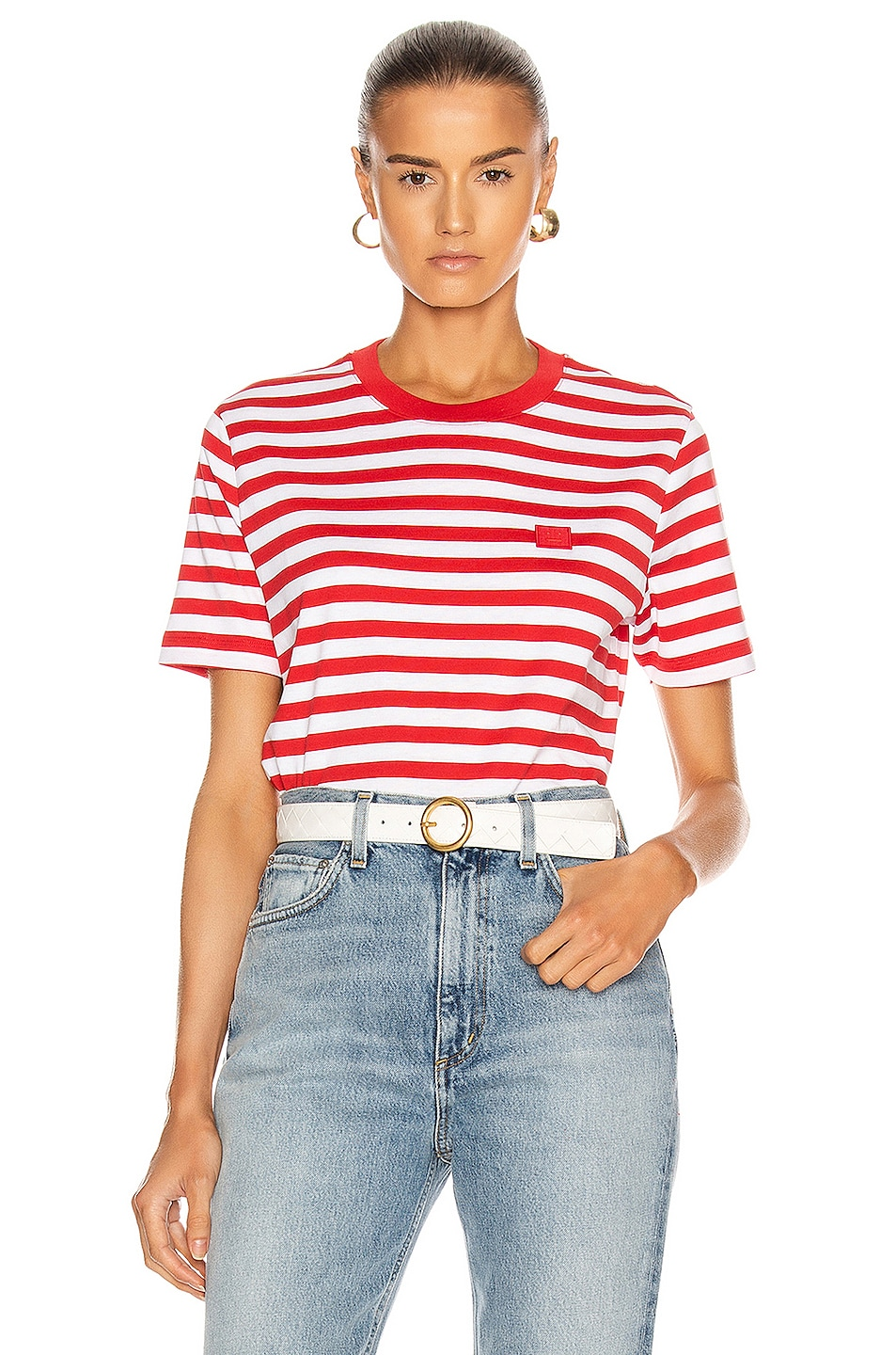 Image 1 of Acne Studios Ellison Stripe Face T-Shirt in Cherry Red