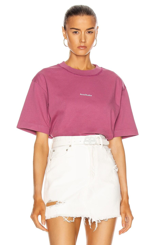 Image 1 of Acne Studios Edie T-Shirt in Violet Pink