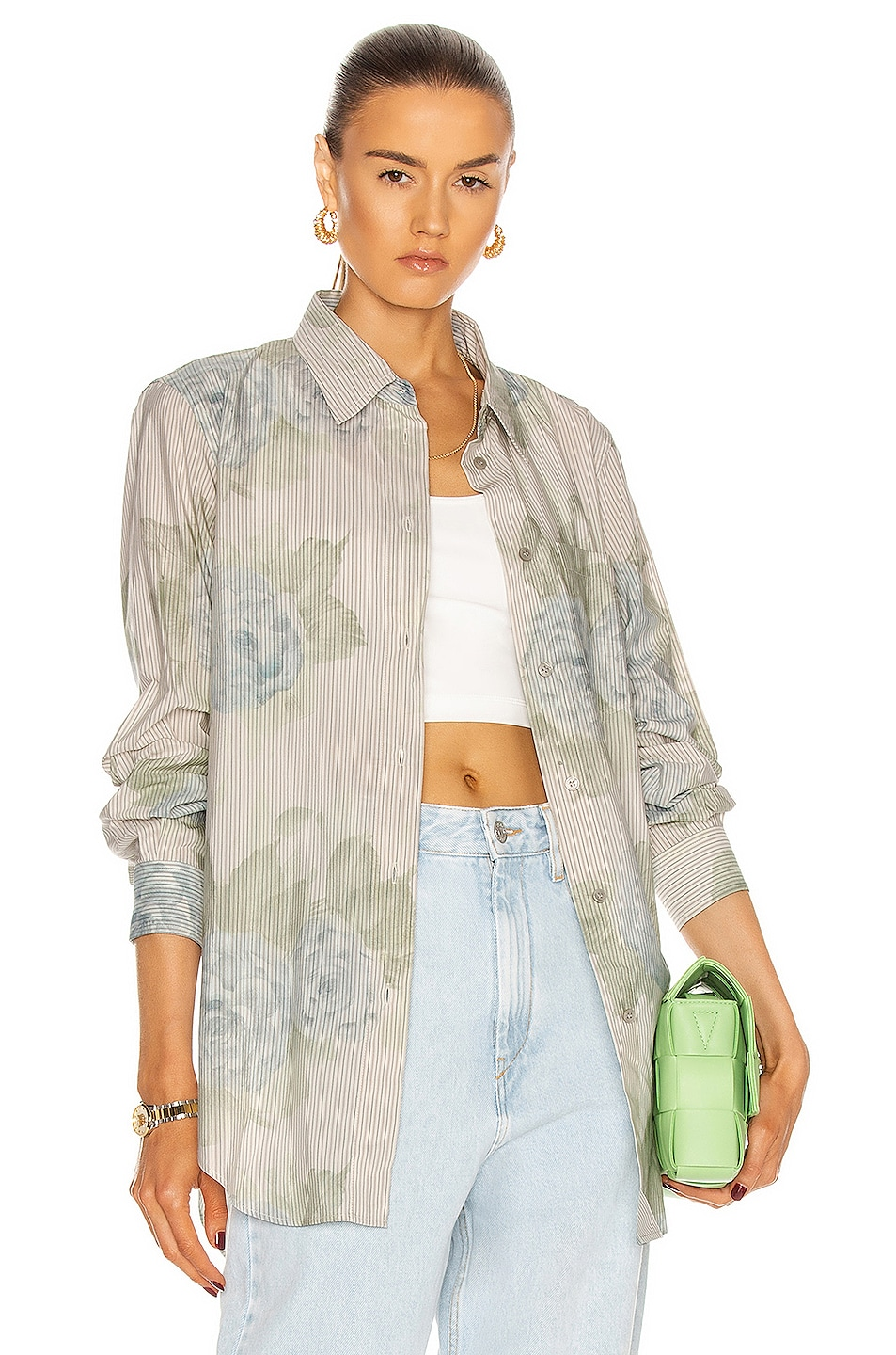 Image 1 of Acne Studios Floral Shirt in Pale Blue