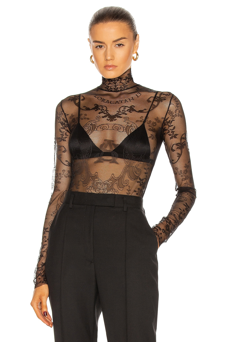 Image 1 of Acne Studios Lace Embroidered Top in Black