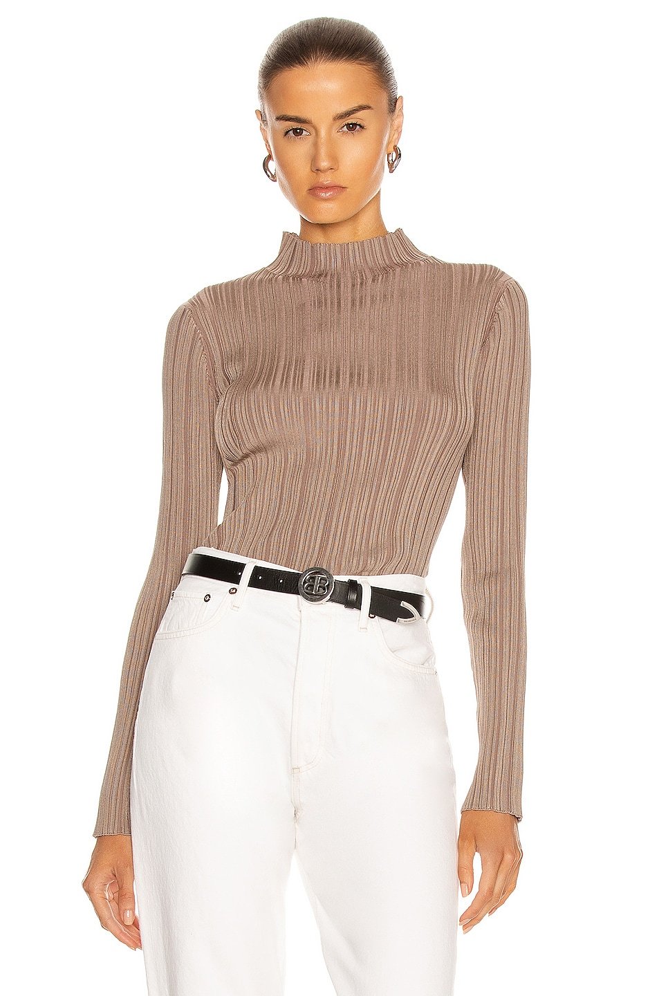 Image 1 of Acne Studios Knit Long Sleeve Top in Taupe Beige