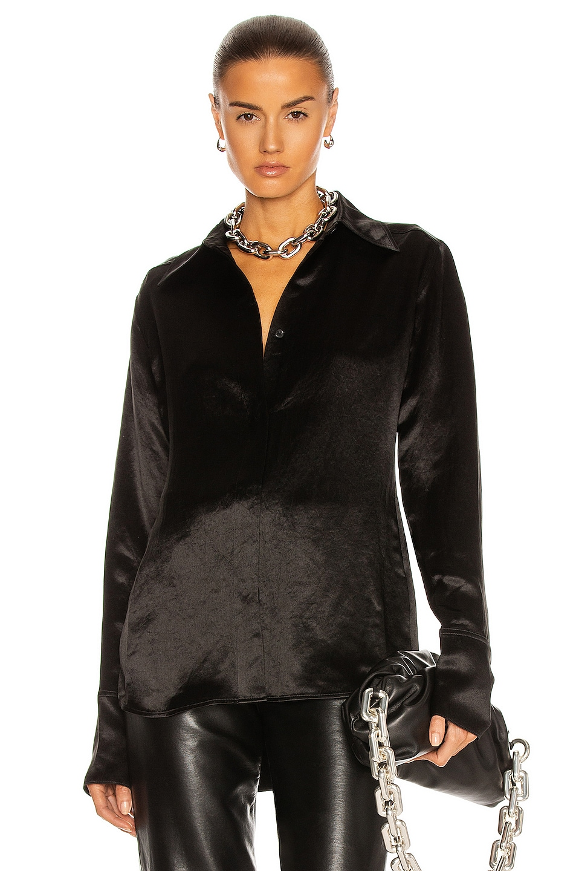 Image 1 of Acne Studios Satin Shirt in Black