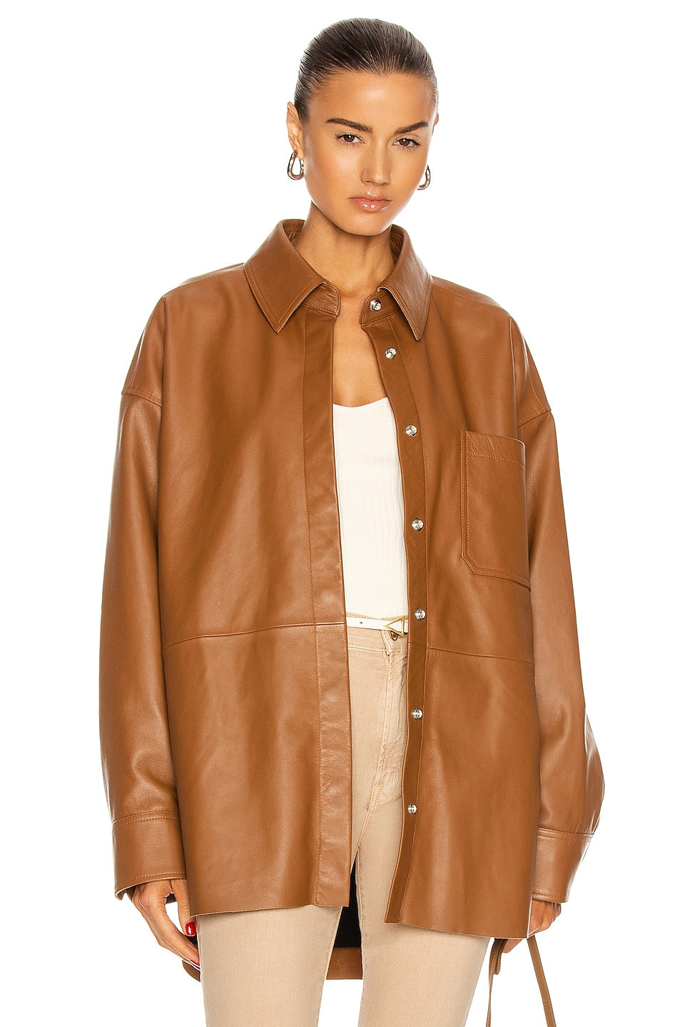 Image 1 of Acne Studios Leather Shirt in Caramel Brown