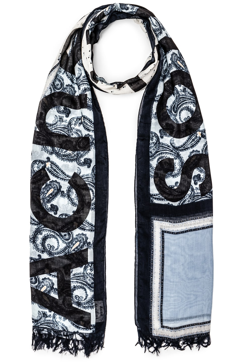 Image 1 of Acne Studios Marjon Diamond Scarf in Diamond Paisley Blue