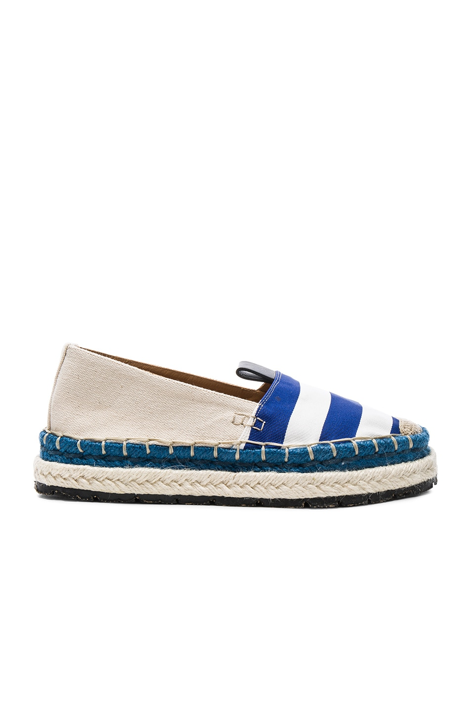 Image 1 of Acne Studios Canvas Bibiana Stripe Espadrilles in Blue & White