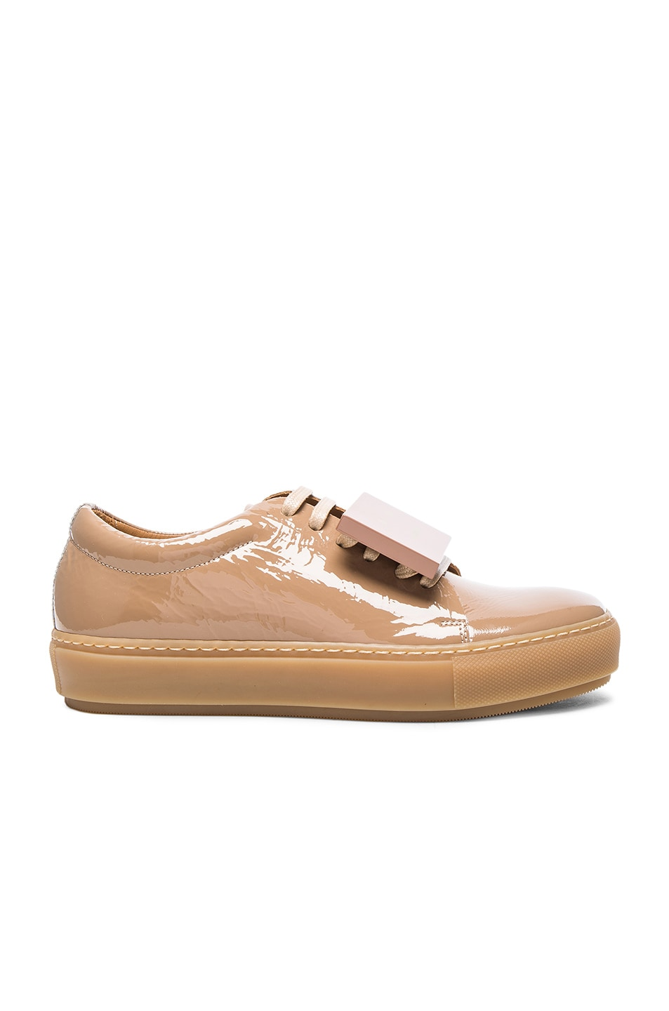 Image 1 of Acne Studios Adriana Patent Leather Sneakers in Beige