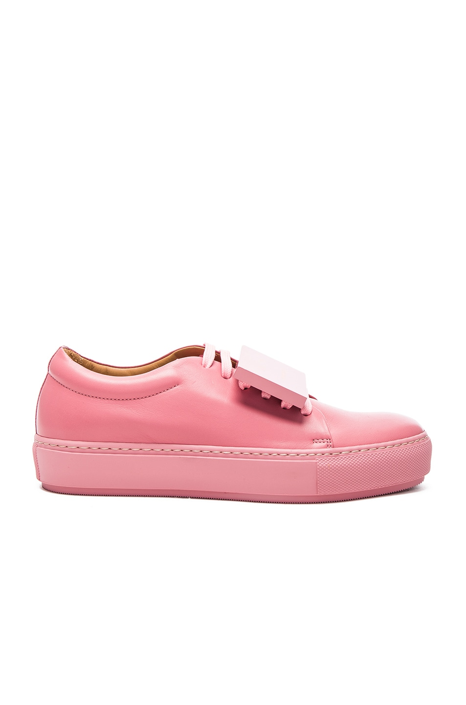 Image 1 of Acne Studios Leather Adriana Turnup Sneakers in Bubble Pink