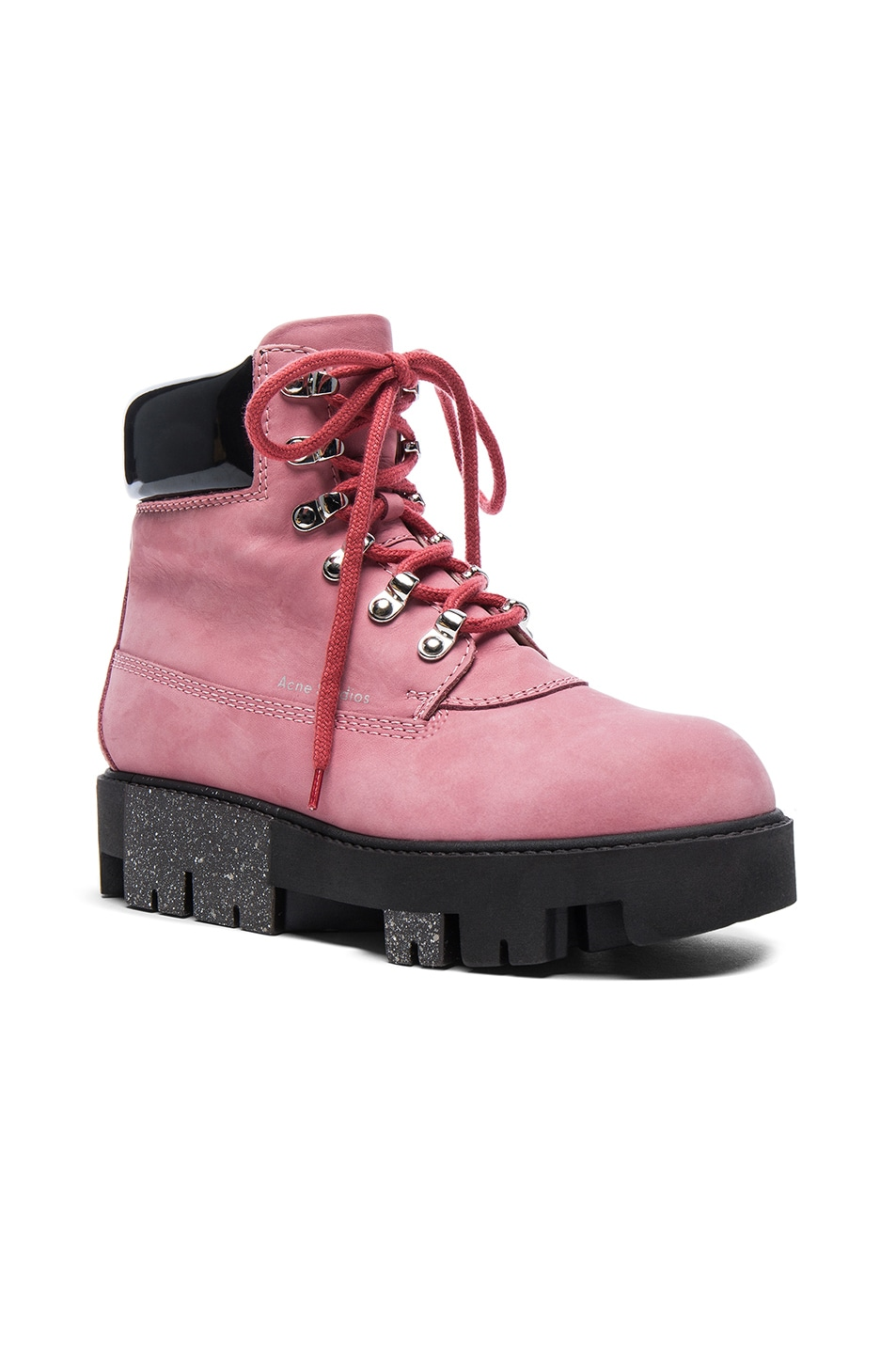 Image 2 of Acne Studios Leather Telde Boots in Bubble Pink & Black