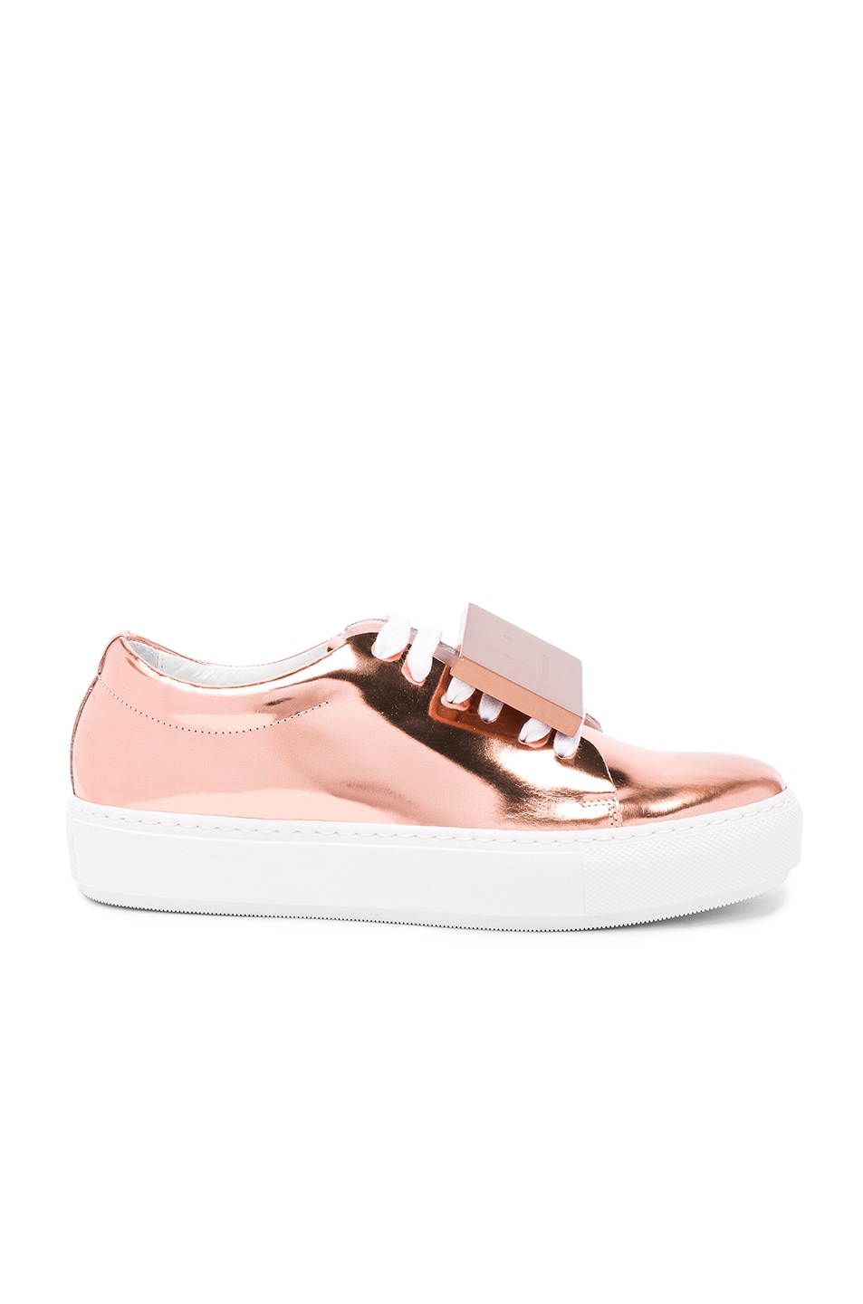 Image 2 of Acne Studios Adriana Metallic Leather Sneakers in Copper