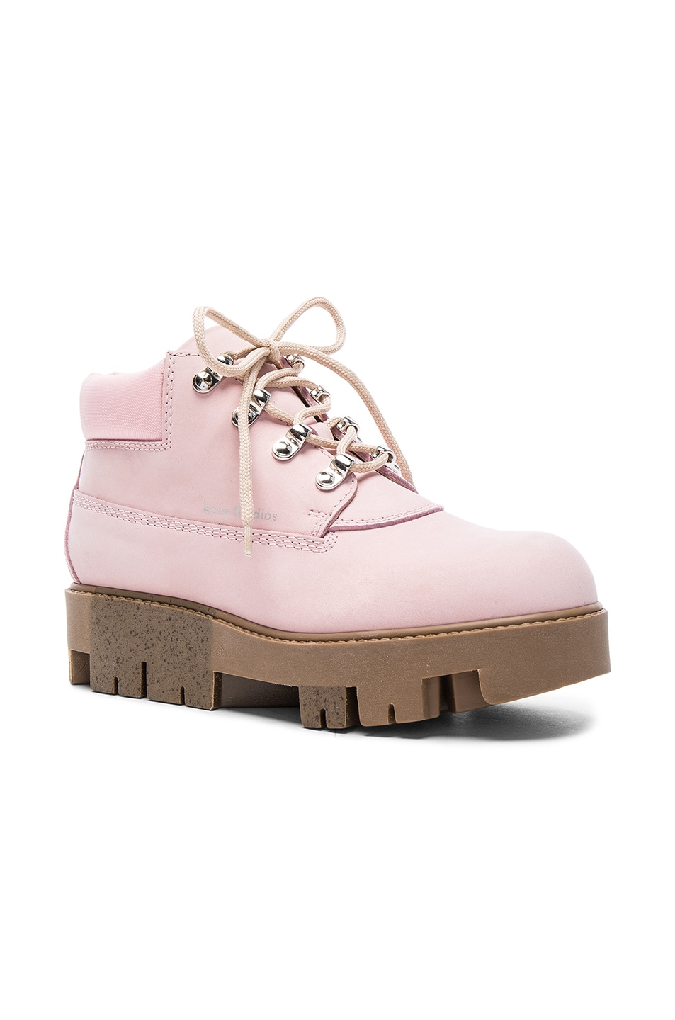 Image 2 of Acne Studios Leather Tinne Boots in Pink