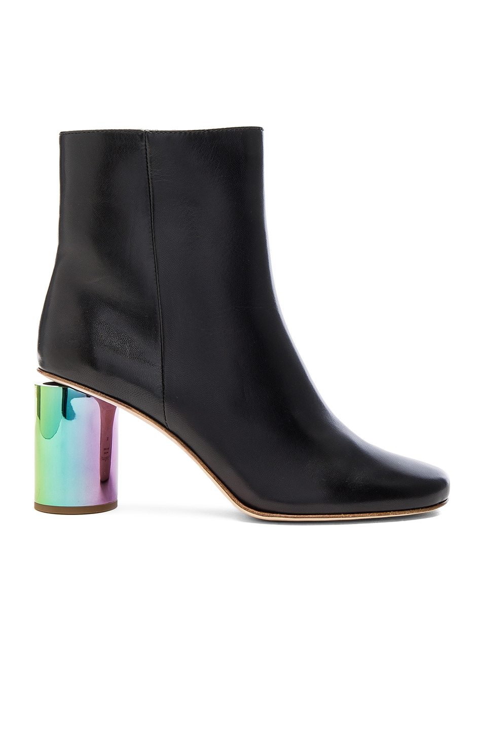 Image 1 of Acne Studios Leather Althea Booties in Black & Oily Yellow