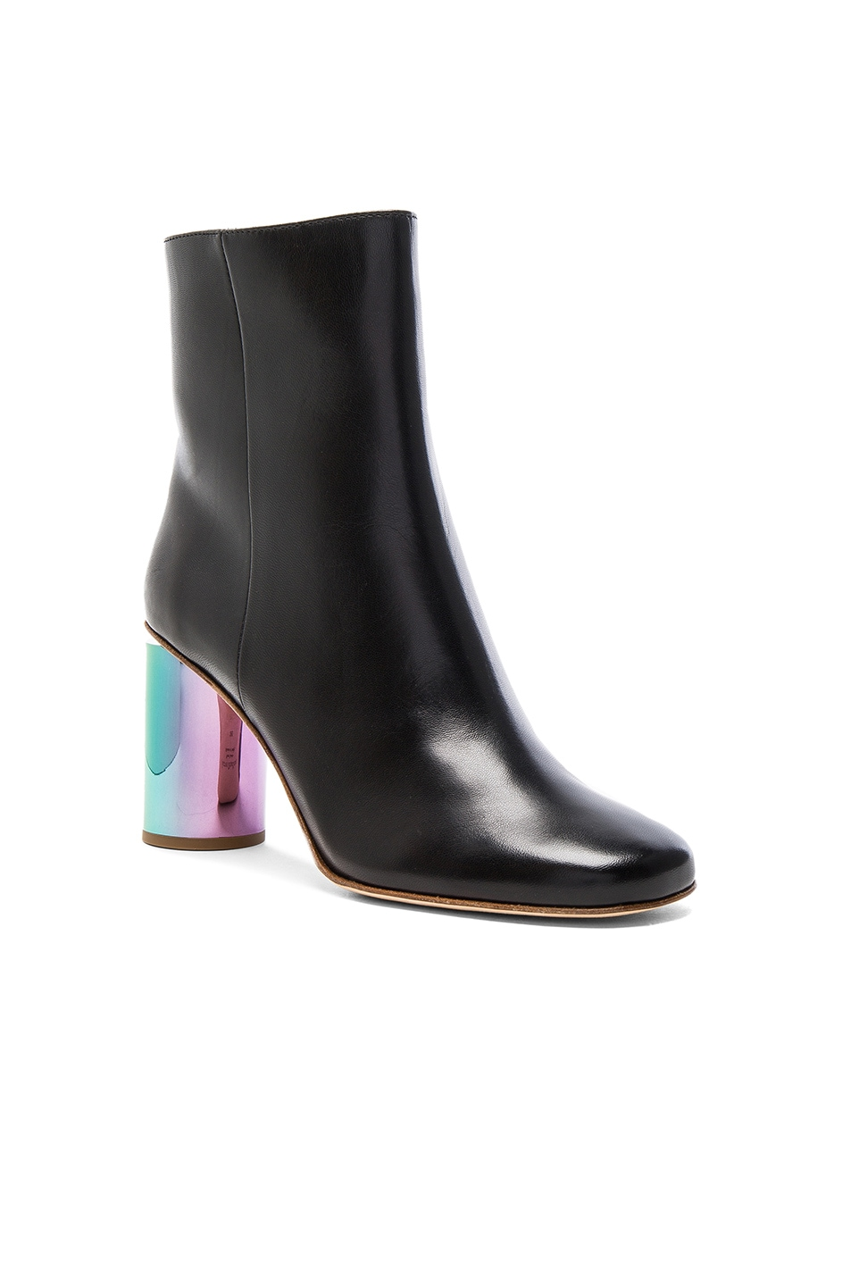 Image 2 of Acne Studios Leather Althea Booties in Black & Oily Yellow