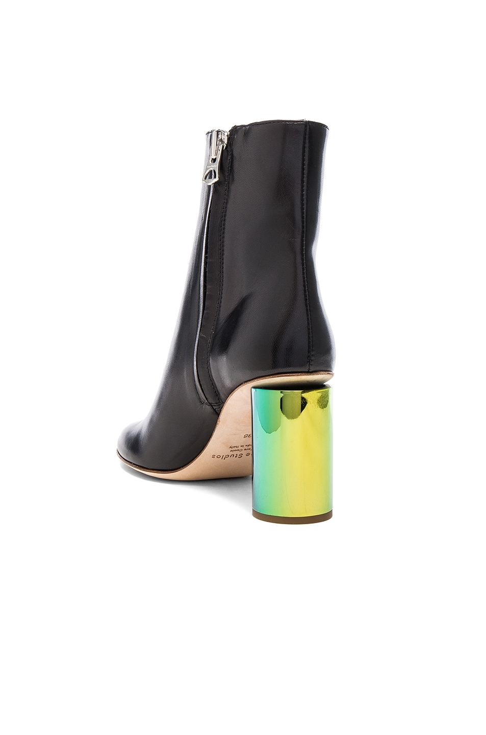 Image 3 of Acne Studios Leather Althea Booties in Black & Oily Yellow