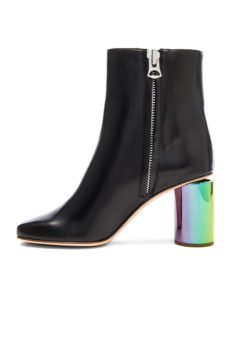 Image 5 of Acne Studios Leather Althea Booties in Black & Oily Yellow