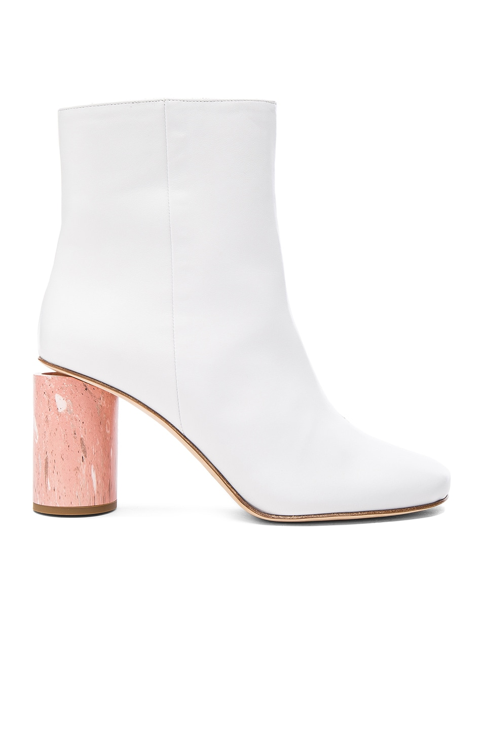 Image 1 of Acne Studios Leather Althea Booties in White & Pink