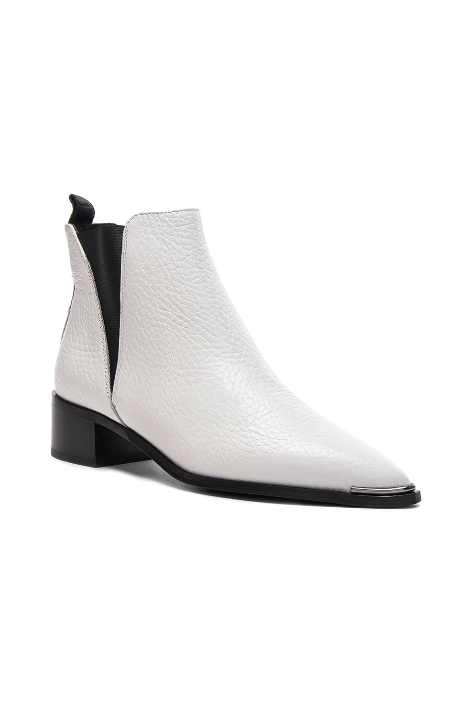 Image 2 of Acne Studios Grained Leather Jensen Booties in White
