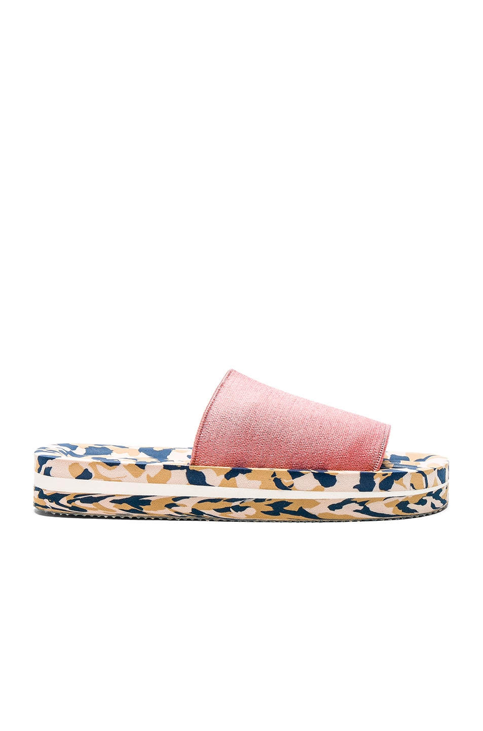 Image 1 of Acne Studios Elastic Tania Slides in Pink & Navy
