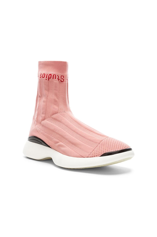 Image 2 of Acne Studios Batilda Sock Sneakers in Pink & White