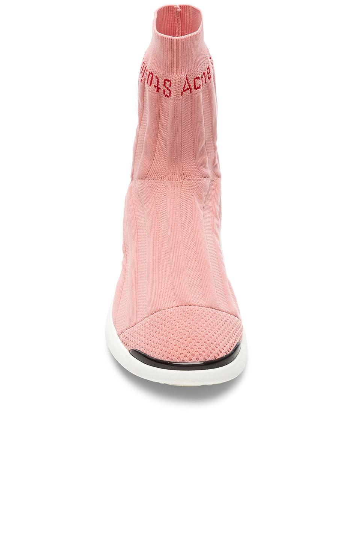 Image 4 of Acne Studios Batilda Sock Sneakers in Pink & White