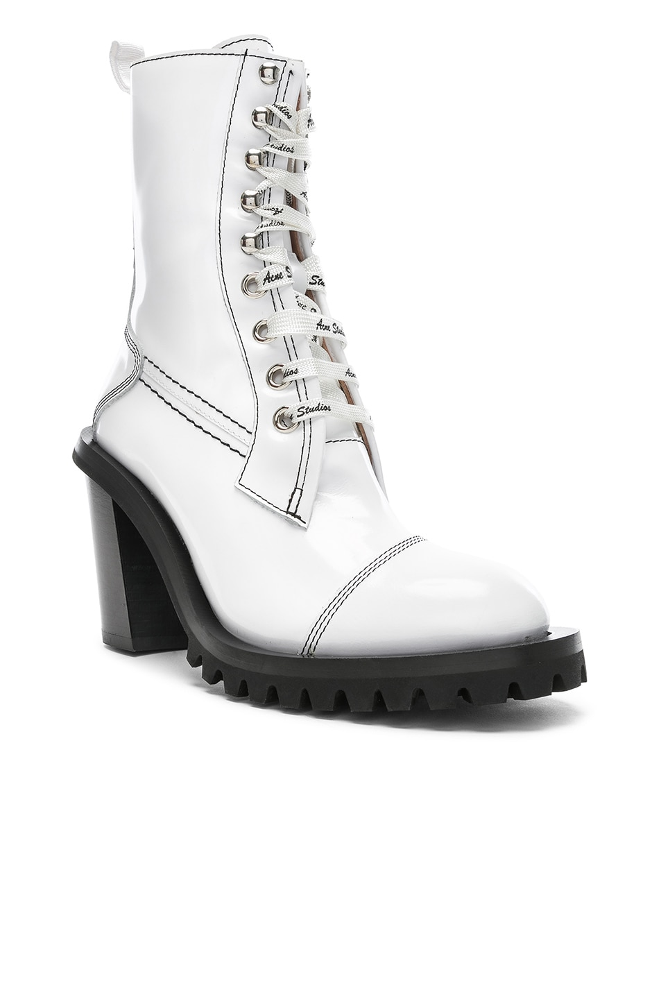Image 2 of Acne Studios Leather Lace Up Boots in White