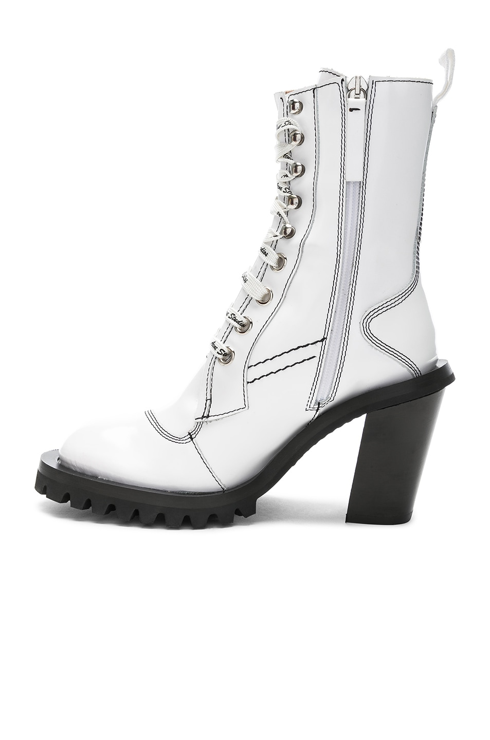 Image 5 of Acne Studios Leather Lace Up Boots in White