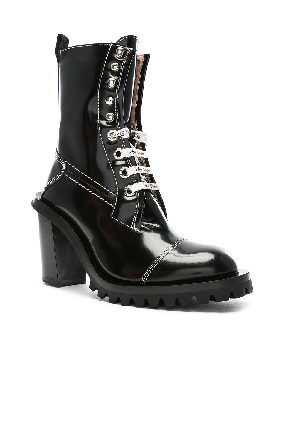 Image 2 of Acne Studios Leather Lace Up Boots in Black