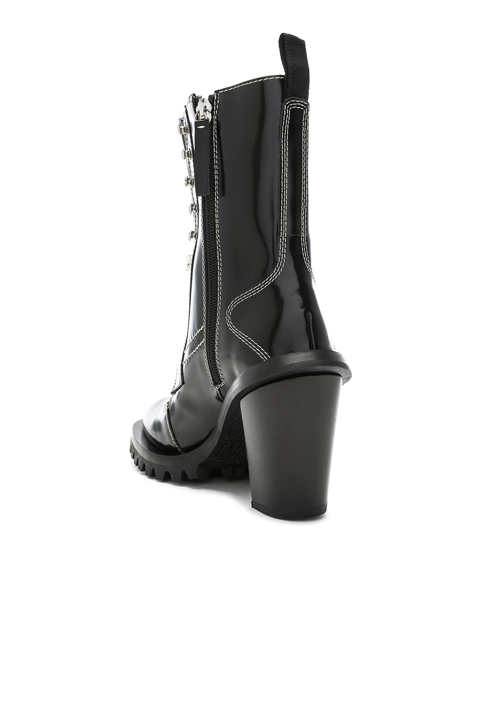 Image 3 of Acne Studios Leather Lace Up Boots in Black