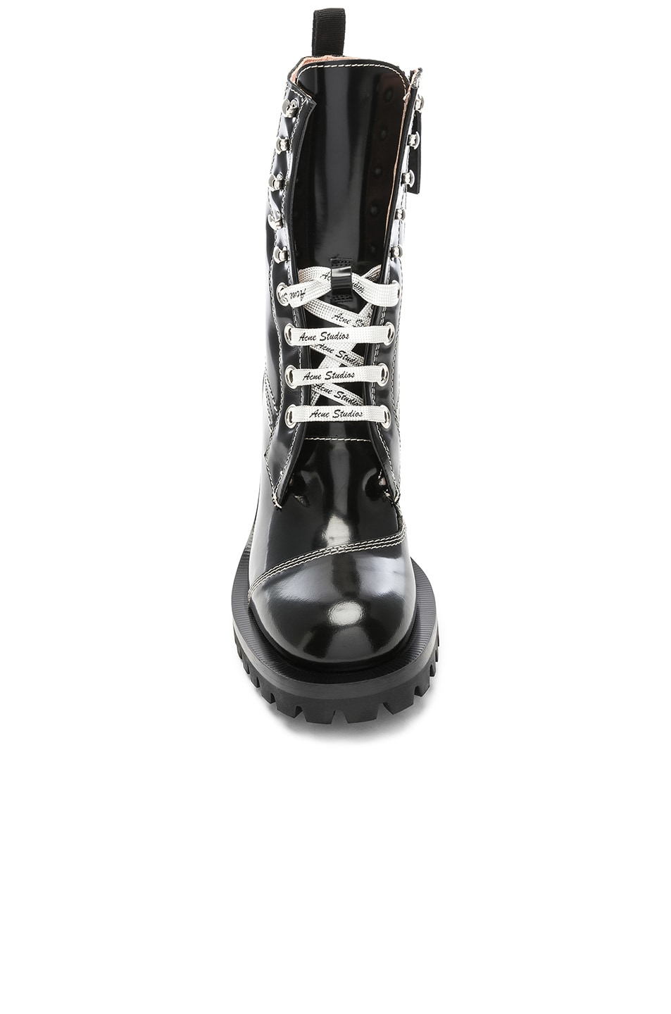 Image 4 of Acne Studios Leather Lace Up Boots in Black