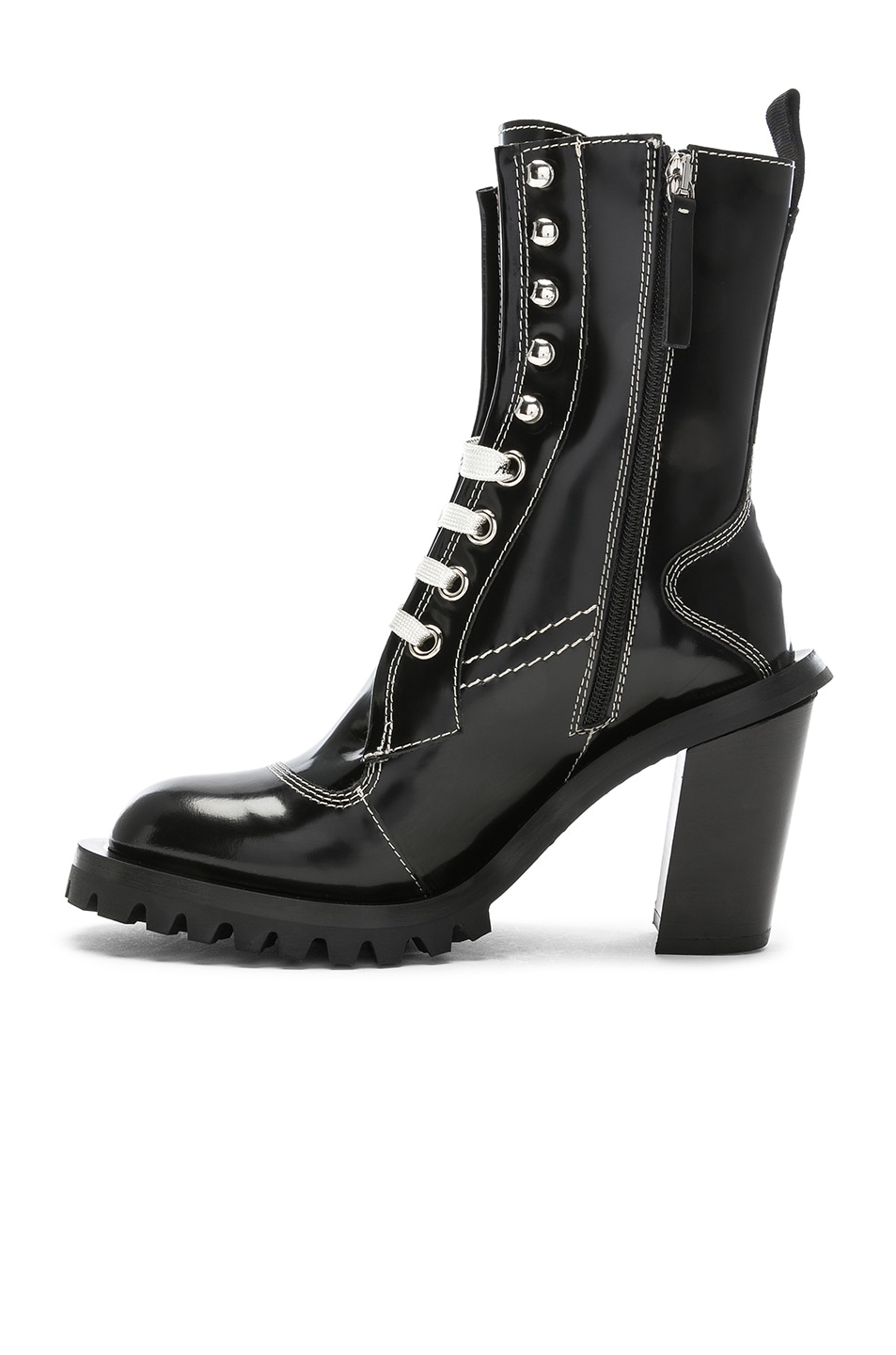 Image 5 of Acne Studios Leather Lace Up Boots in Black