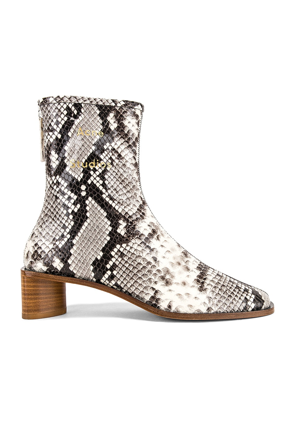 Image 1 of Acne Studios Bertine Snake Boots in White & Beige
